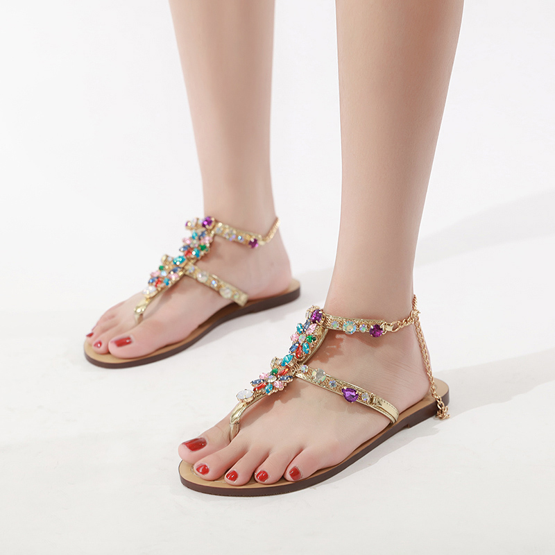 HTB1cvf.biLrK1Rjy1zdq6ynnpXa6 6 Color Woman Sandals Women Shoes Rhinestones Chains Thong Gladiator Flat Sandals Crystal Chaussure Plus Size 46 tenis feminino