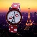 Cristal de Lujo de Moda del womage Torre Eiffel Mujeres Del Reloj Relojes de Pulsera Correa de Cuero Relojes Ladies Watch Horas relogio feminino