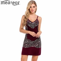 Meaneor 2017 Women Sexy Spaghetti Strap Dress V-Neck Sleeveless Sequined Patchwork Sexy Club Sheath Summer Dress Vestidos