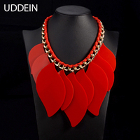 Exaggerated Clothing Accessories Newest Statement Necklace Pendant Red Resin Geometric Double Chunky Chain Jewelry Wholesale