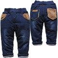 3797 de invierno muy cálido niños ocasionales de los muchachos pantalones vaqueros del bebé pantalones de los muchachos gilrs niños de mezclilla y pantalones de algodón acolchado