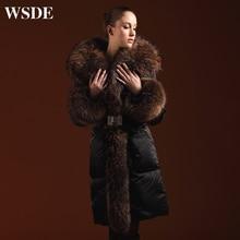 Plus size 5XL Goose Down coat 2016 Winter Jacket Women Down jackets luxury slim long thicken raccoon fur Hooded Outerwear