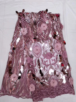 New design pink 3d flower sequins lace fabric for women nice dress high quality african French net lace fabric with beads CD3245
