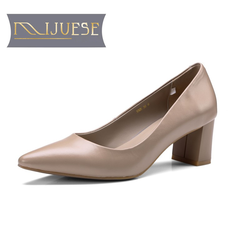 MLJUESE 2018 women pumps Cow leather pointed toe yellow color office lady square heel high heels