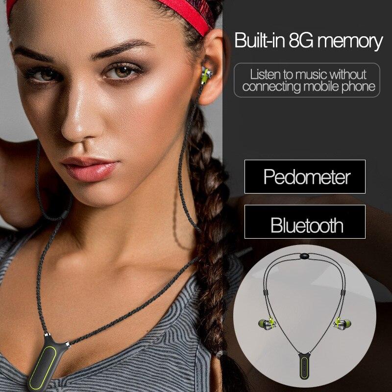 Yescool IPX7 wearable esportes Bluetooth 4.2 fones de ouvido à prova d' água com APP inteligente pedômetro gravação construído em 8 gb MP3 Jogador