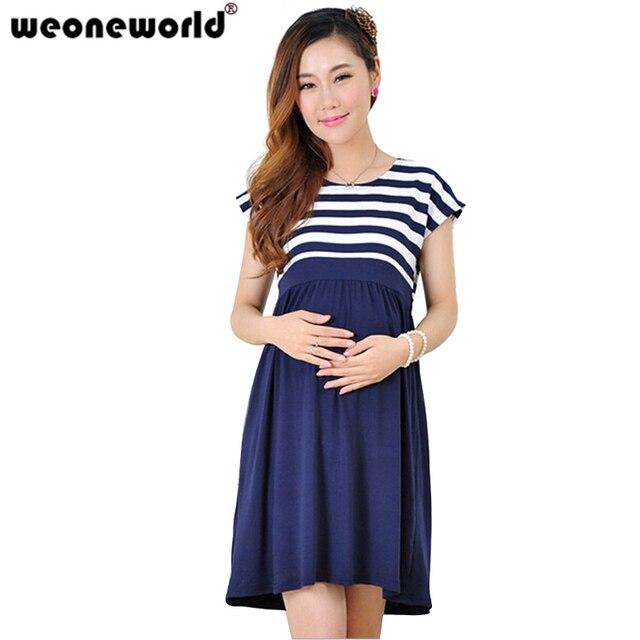 cebda60a36e59 WEONEWORLD Yaz Kısa Kollu Hamile Elbisesi Rahat Pamuk Hamile Kıyafetleri  Artı Boyutu Bayanlar Şerit Hamile Elbiseler