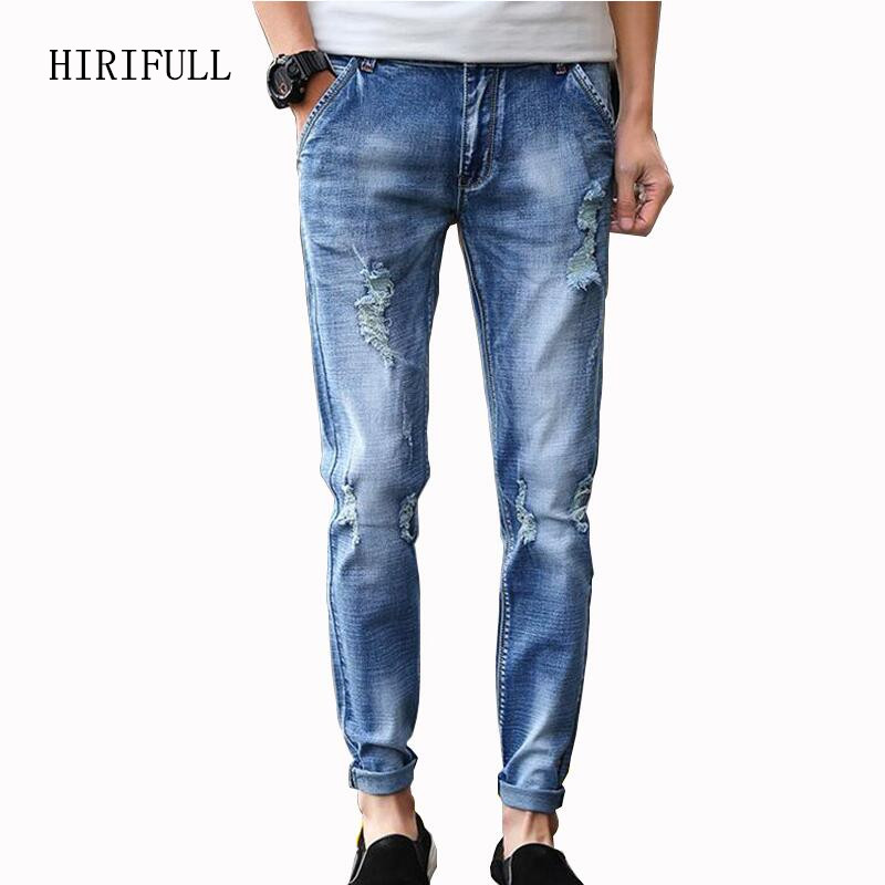 2017 New Arrival Jeans Men Korean Style Stretch Ripped Ankle-Length Denim Trousers Male Fashion Slim Pencil Pants Plus Size hot new arrival mens jeans white hole jeans beggar style pants male taper straight slim high quality men pants plus size mb324