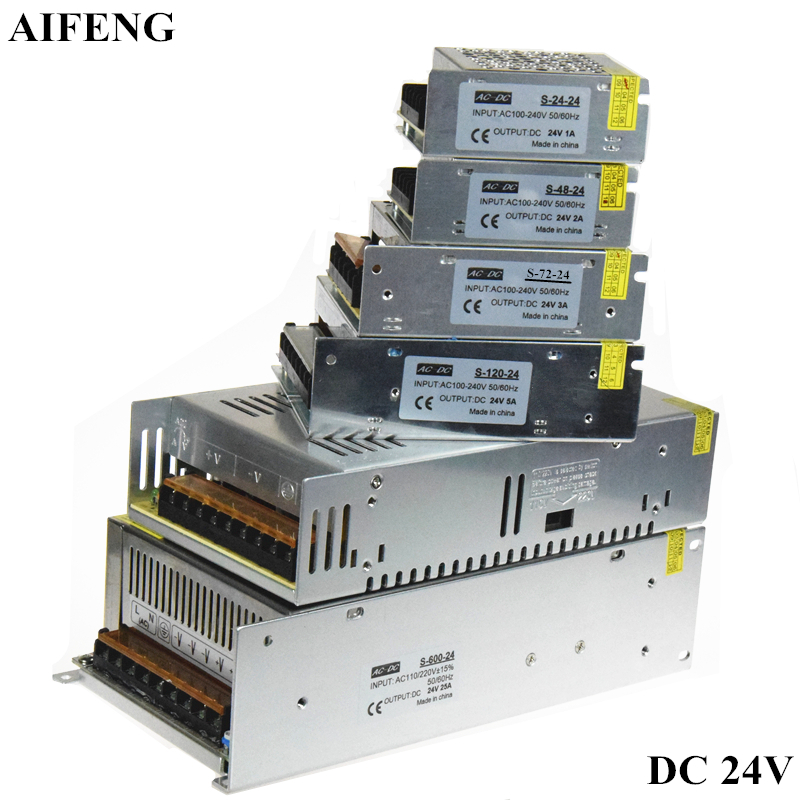 AIFENG Lighting Transformer 1A 2A 3A 5A 15A 25A AC 110V 220V To DC24V Led Driver Switch Power Supply Adapter For Led Strip Light aifeng dc 24v switching power supply 1a 2a 3a 5a 15a 25a power supply switching power ac 110v 220v to dc 24v for led strip light
