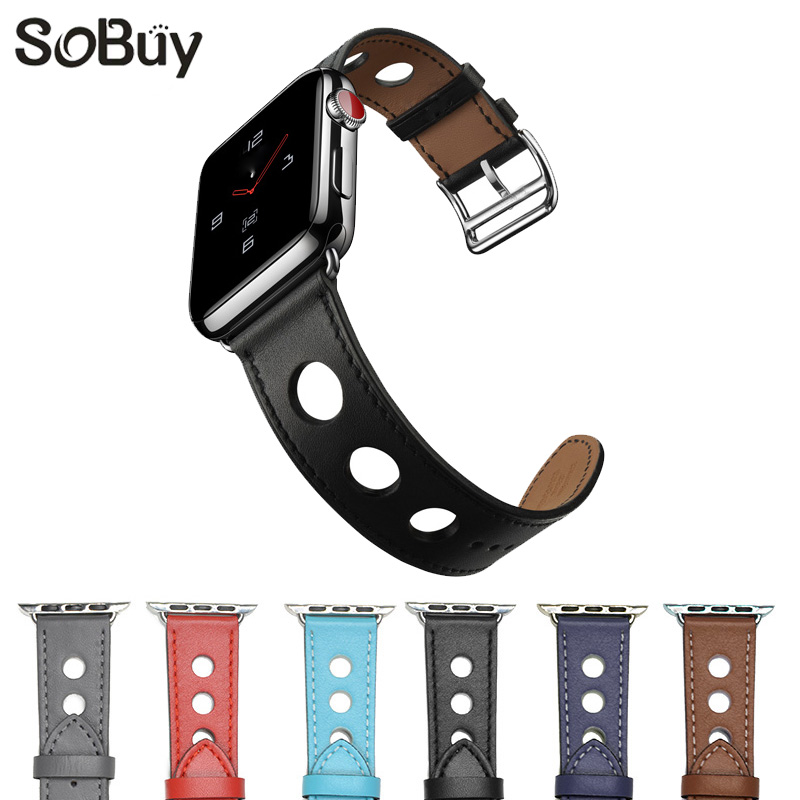 So buy corium leather strap for apple watch 42mm/38mm bracelet Genuine Leather watchband for iwatch series 3/2/1 i watch belt women crocodile leather watch strap for vacheron constantin melisa longines men genuine leather bracelet watchband montre