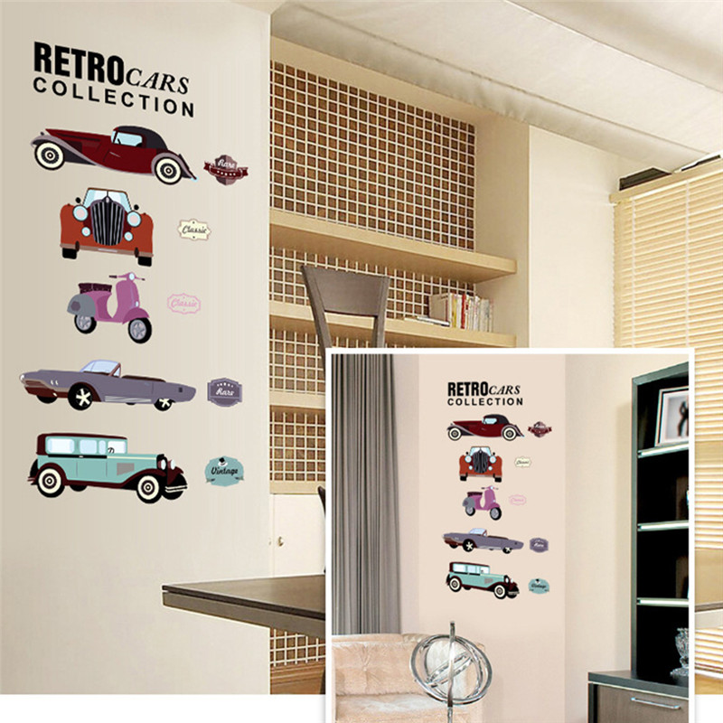 Retro Cars Collections Wall Stickers Crazy Fans Room Decor Pvc Children Wall Art Diy Boys Girls