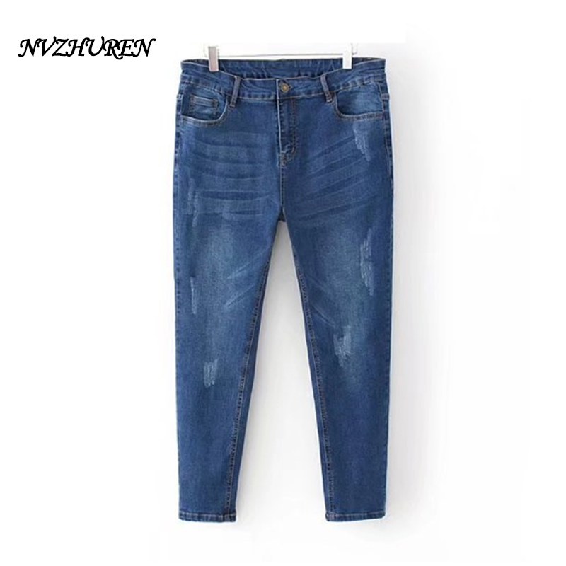 NVZHUREN 5XL Plus Size Women Jeans Solid Casual Ladies Pencil Pants Denim High Waist Blue Jeans For Women mujer Trousers nvzhuren solid denim jeans for women high waist elastic long skinny slim jeans trousers plus size spring autumn ladies pants