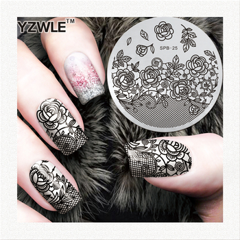 Lace Flower Pattern Stamping Nail Art Image Plate 5.6cm Stainless Steel Template Polish Manicure Stencil Tool image