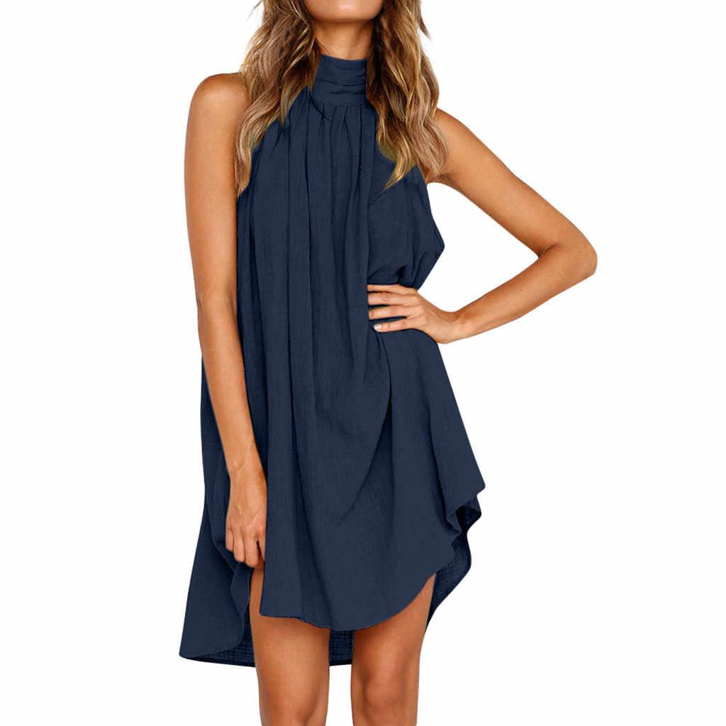 2019 женщины; Лето; в стиле бохо для отдыха из хлопка и льна мини-платье с неровным низом женские шлепанцы для пляжа Нарядное платье без рукавов