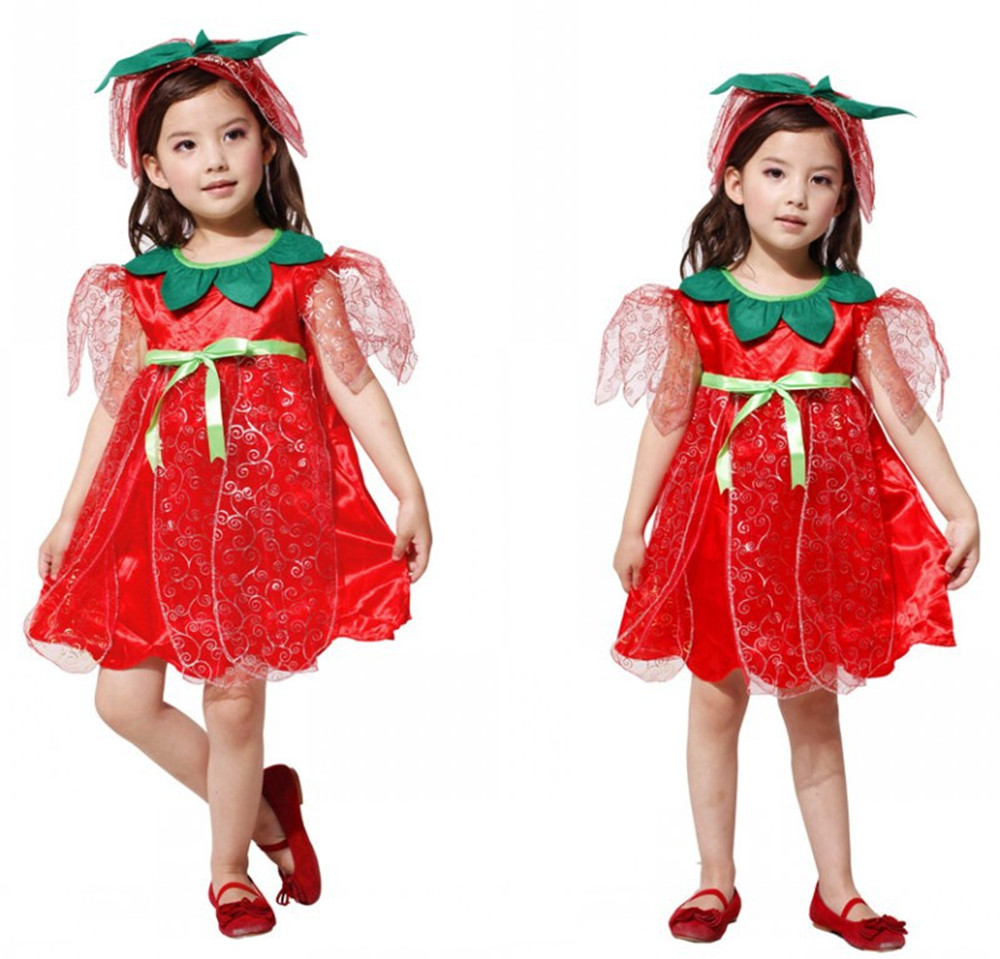 Cosplay children's flower fairy Elf costume dress red princess dress for kids girl Halloween carnival costume ball costume