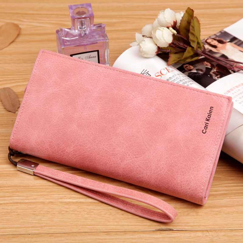 Fashion Long Hasp Zipper Female Leather Wallet Casual Retro Women Wallets With Coin Pocket Card Holder Phone Pocket Purse casual weaving design card holder handbag hasp wallet for women