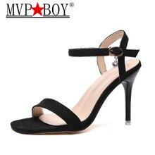 Mvp Boy Women pumps 10.5 CM Thin High heel Flock Shallow mouth Open Toe Sexy Nightclub Word Band sandals womens shoes