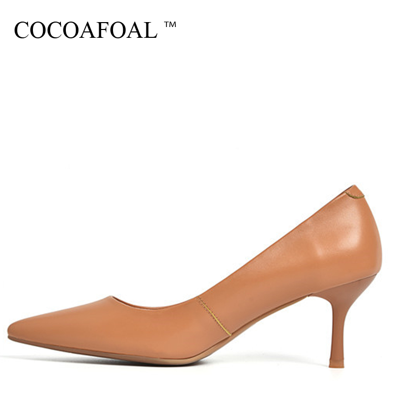 COCOAFOAL Woman Genuine Leather Pumps Apricot Brown Fashion Sexy Stiletto High Heels Shoes Snakeskin Pointed Toe Career Pump cocoafoal woman pointed toe pumps pink black brown fashion sexy high heels shoes snakeskin genuine leather career pumps 2017