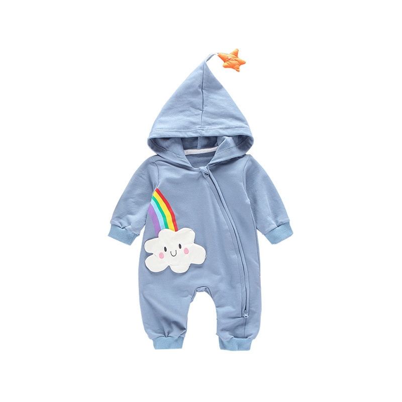 2019 Cute Newborn Rainbow Baby Girl Boy   Rompers   Rainbow Star Hooded Jumpsuit Spring Clothes Outfits Autumn Lovely 0-18M