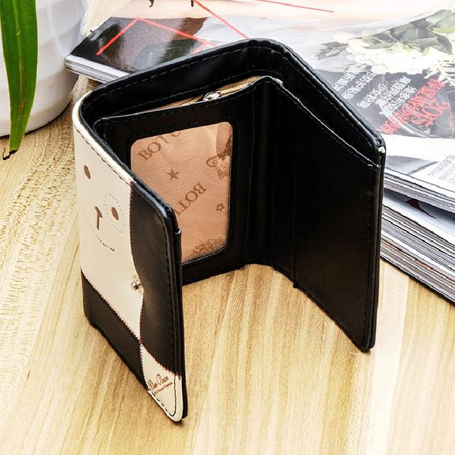 MAKORSTER Brand Fashion Mini Wallet Women PU Leather Black Color Bear Wallets Female Coin Purses Holders High Quality B XH143