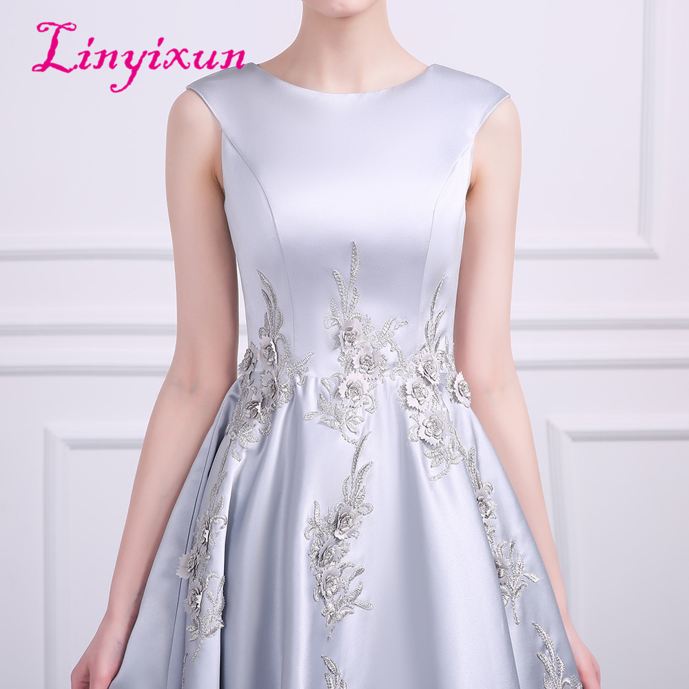 9a9e51ea53d Linyixun Cheap Homecoming Dress 2018 A Line Scoop Zipper Appliques Cocktail  Party Dress Gray Short Satin Prom Dresses Custom-in Homecoming Dresses from  ...