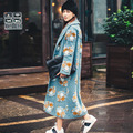 INU005 New Arrival Autumn and Winter 2016 Drop Shoulder Loose Long 3D Floral Wool Coat Women