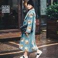 INU005 Nova Chegada do Outono e do Inverno 2016 Ombro Queda Casaco De Lã Das Mulheres Solto Longo Floral 3D