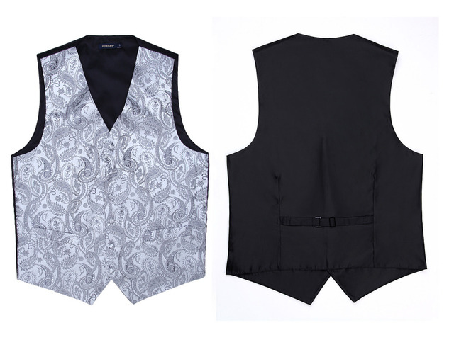 Men's Classic  Paisley Jacquard Waistcoat Vest Hankerchief Party wedding Tie vest Suit  Pocket Square Set
