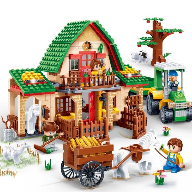 541Pcs Building Block Toys for Children Happy Countryside Farm DIY Building Bricks Model Set Kids Educational Toys Friends Gift cheerlink zm 81 3mm neodymium iron diy educational toys set silver 81 pcs