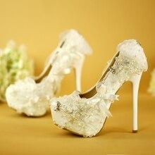 Weiß Perlen Frauen Hochzeit High Heels Schuhe Strass Bogen Prinzessin Brautschuhe Hochzeit-abschluss-party Prom Pumps Big Size EU35-43