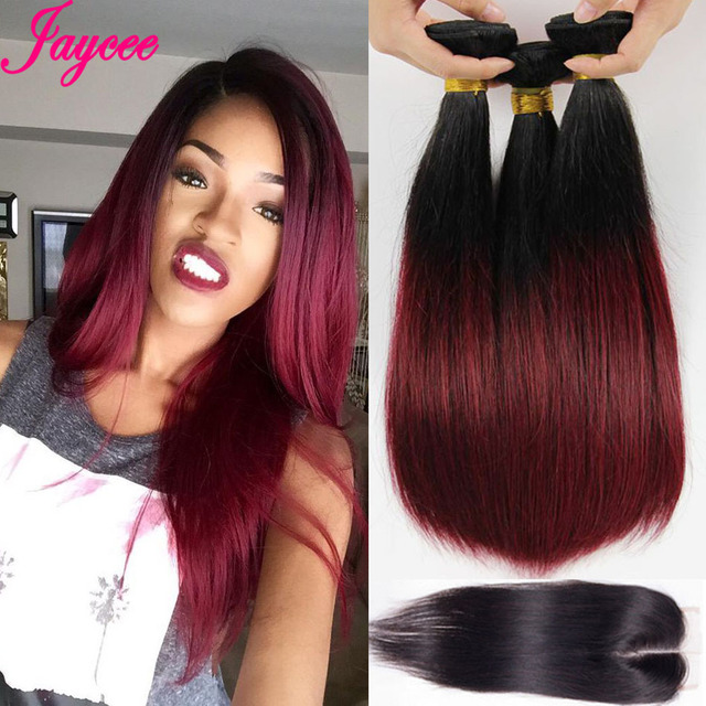 8A Straight Weave With Closure Ombre Bundles With Lace Closure Malaysian Straight Hair Extensions 1B/99J Malaysian human hair