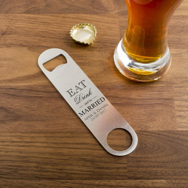 Personalized Wedding Favor And Gift Engraved Stainless Steel Pro Bottle Opener Giveaway Souvenir Set