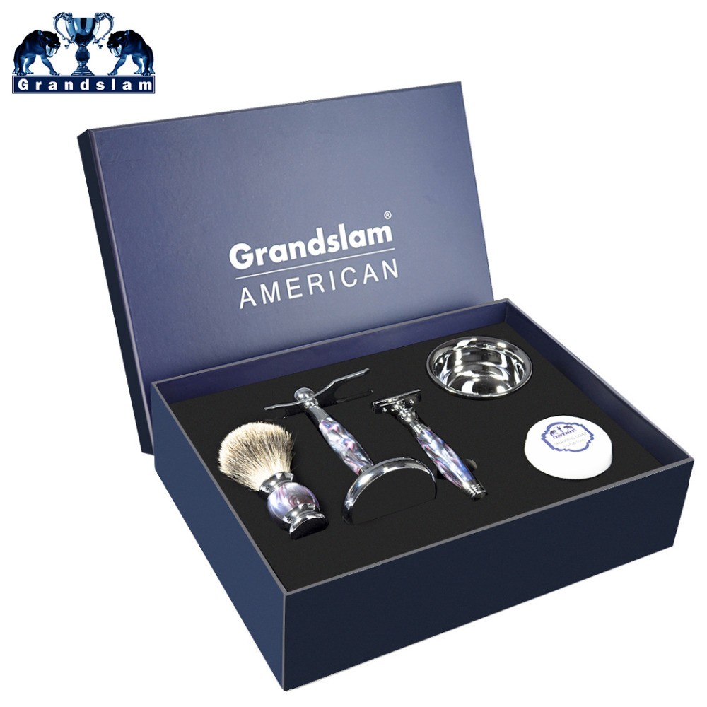 Grandslam 5pcs Shaving Razor Kit Safety Razor Double Edge Long Handle+Best Badger Shaving Brush+Stand+Man Shave Soap+Bowl grandslam 3pcs set man double edge safety razor shaving razor set long handle badger shaving brush stand holder wet shave tool