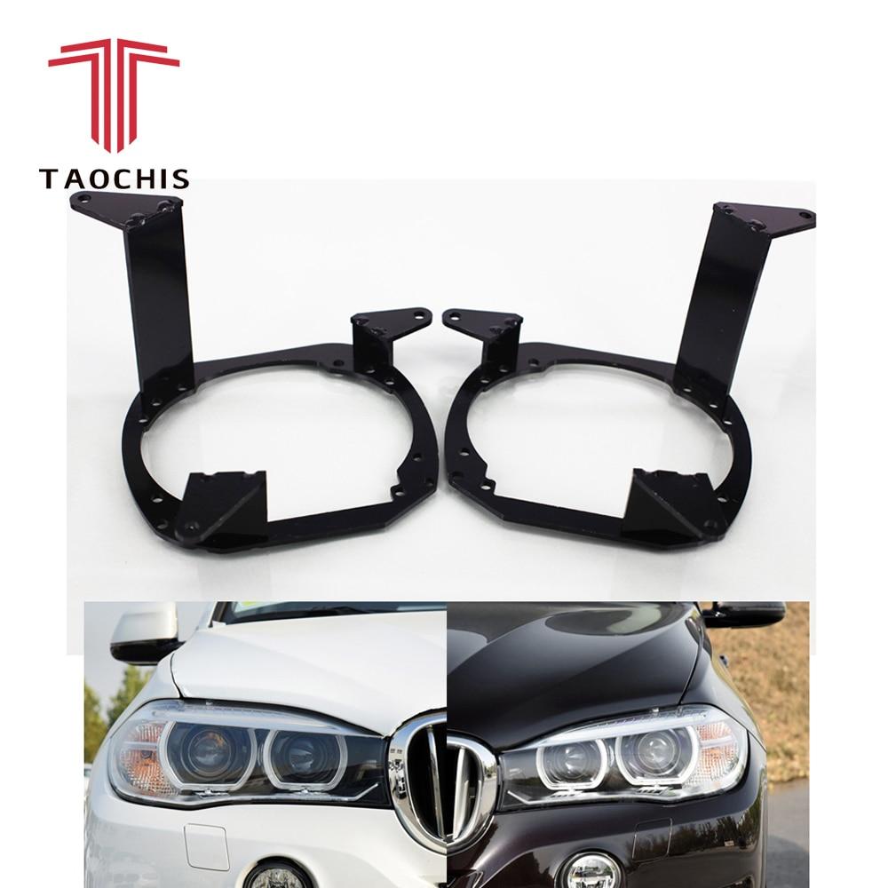 Taochis Car Styling frame adapter module set DIY Bracket Holder for BMW X5 xDrive 35i 30d 2014 Hella 3 5 Projector lens