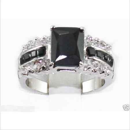 ขายส่งราคา16new ^^^^แท้สีดำทัวร์มาลีนT Anzaniteแหวนเงินขนาด7-8 #