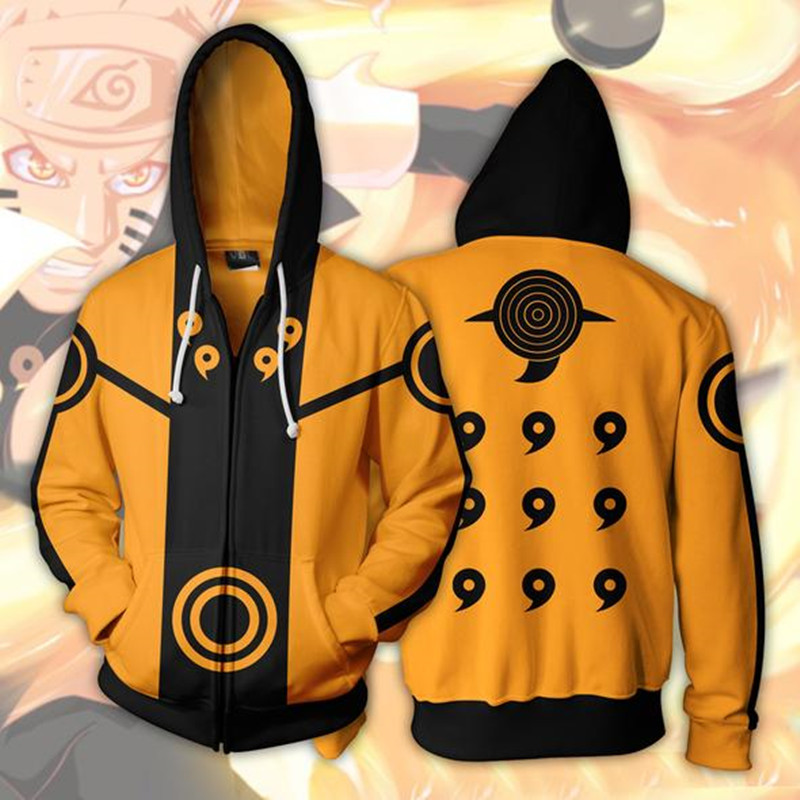 Casual Japanese Anime Naruto Hoodie Hoodies 3D Zipper Sweatshirt Man Oversized Sweatshirts Men Sweat Homme Clothing Drop Ship