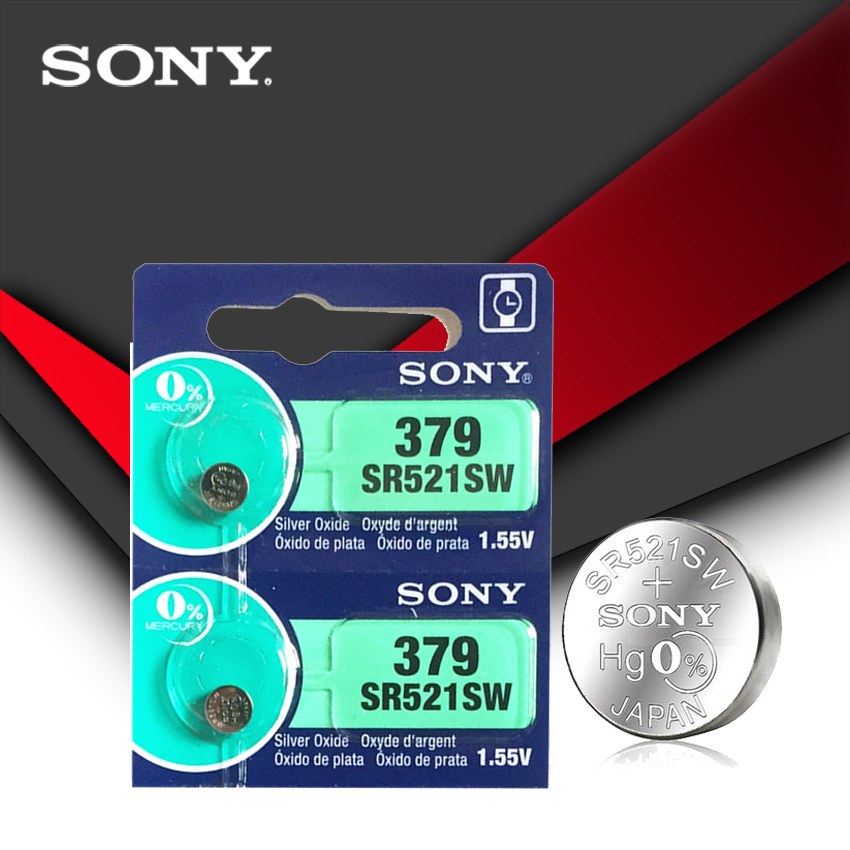 2pc Sony 100% Original 379 SR521SW D379 SR63 V379 AG0 Watch Battery Button Coin Cell MADE IN JAPAN 100% Original Brand