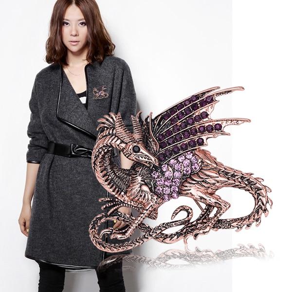 Taxtlar Bənövşəyi Dragon Brooch Pin Antik Kristal Böyük Qadın - Moda zərgərlik - Fotoqrafiya 2