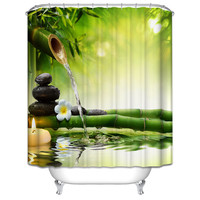 SPA Waterproof Shower Curtain Bathroom Decor Jasmine Flower Decorations Green Bamboos Fall Trees Star Fish Sea
