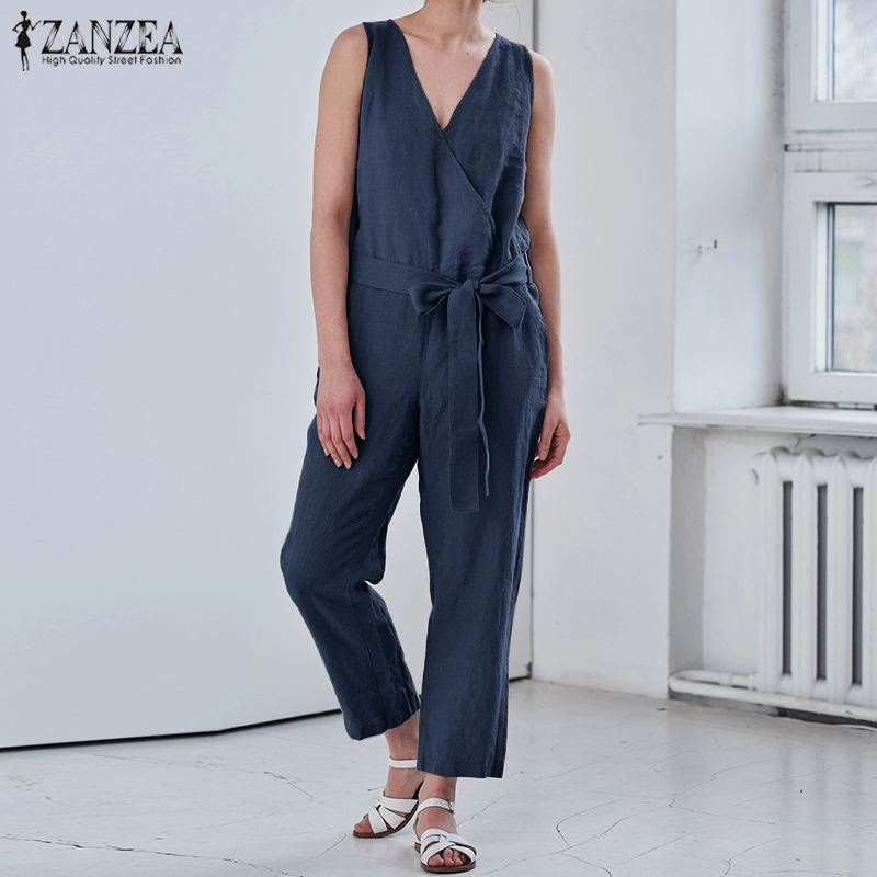 S 5XL ZANZEA Summer Elegant Party Overalls 2019 Women Sexy V Neck Rompers Solid Strappy Cotton Jumpsuit Playsuits Wide Leg Pants