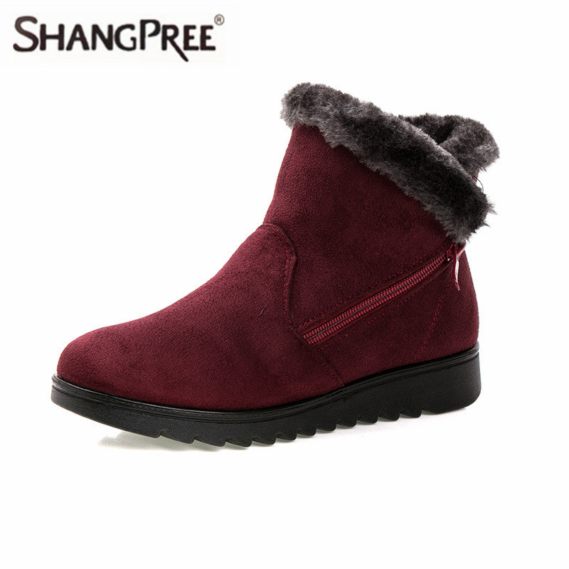 New Women Snow boots Flock Winter Warm Faux Fur Snow Fashion Comfortable Solid Ankle Boots Casual Women Mother Flats Shoes Woman
