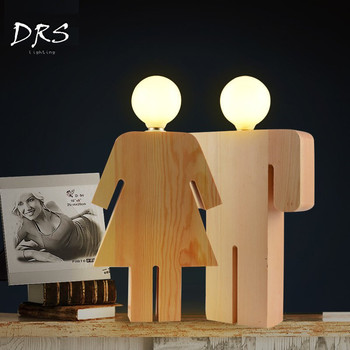 Wooden Woman Man Table Lamp Lover Married Solid Wooden Lustres Deco Bedside Lights Bedroom Living Room Hotel Guest Desk Lamparas