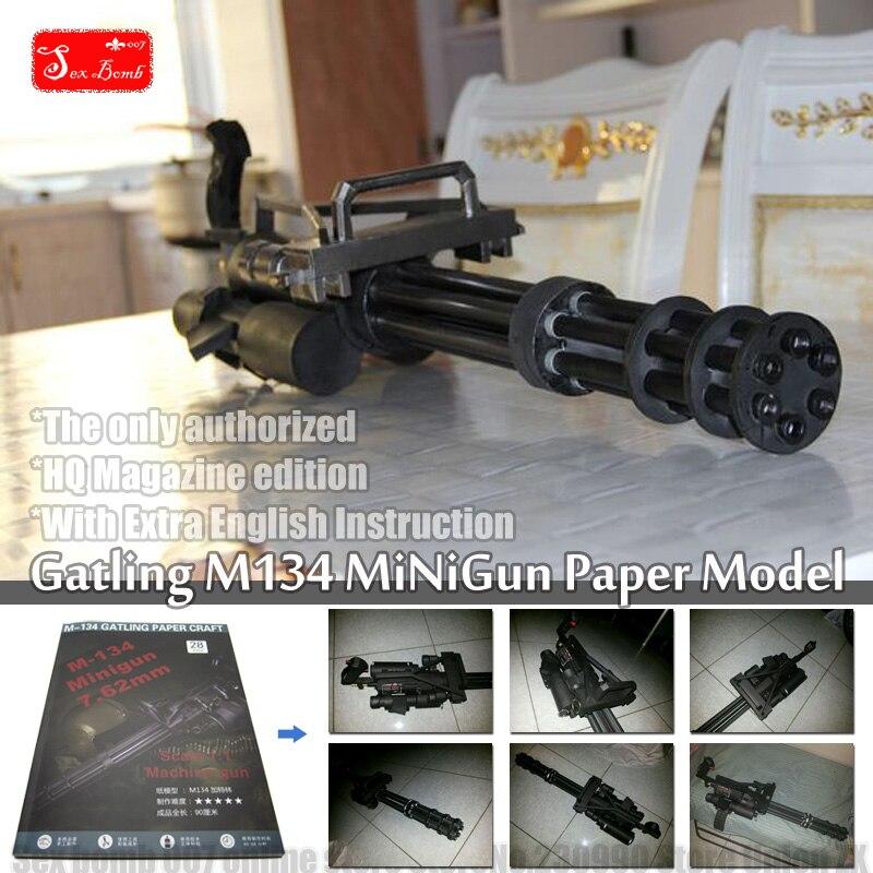 Новинка 2017 года масштабируется Гатлинга M134 минигул 3D Бумага модель машины игрушки п ...