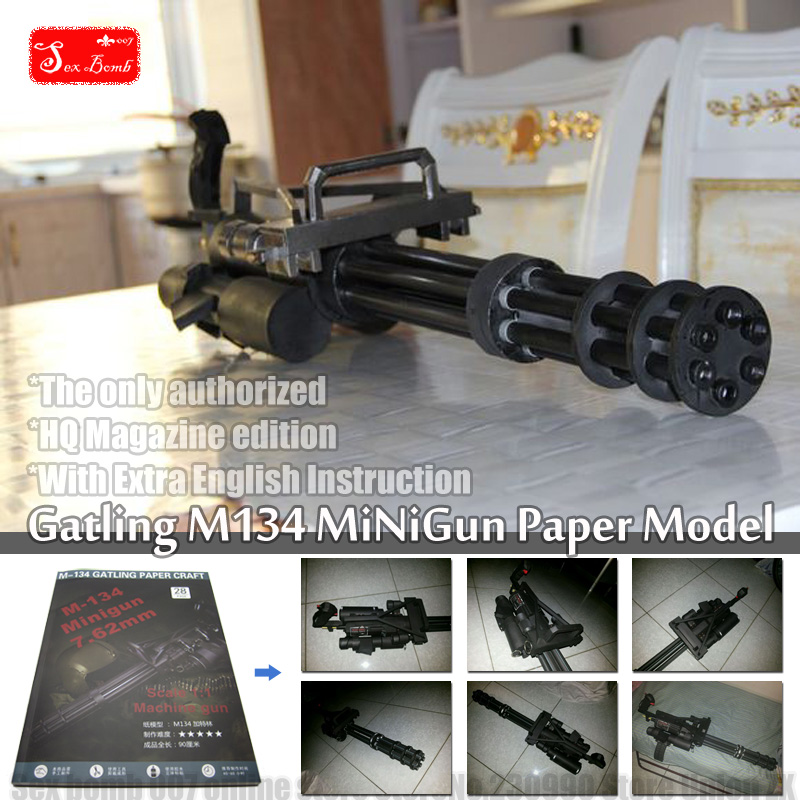 2017 New Scaled Gatling M134 minigun 3D model kertas mainan Senapan mesin cosplay senjata model Kertas Toy