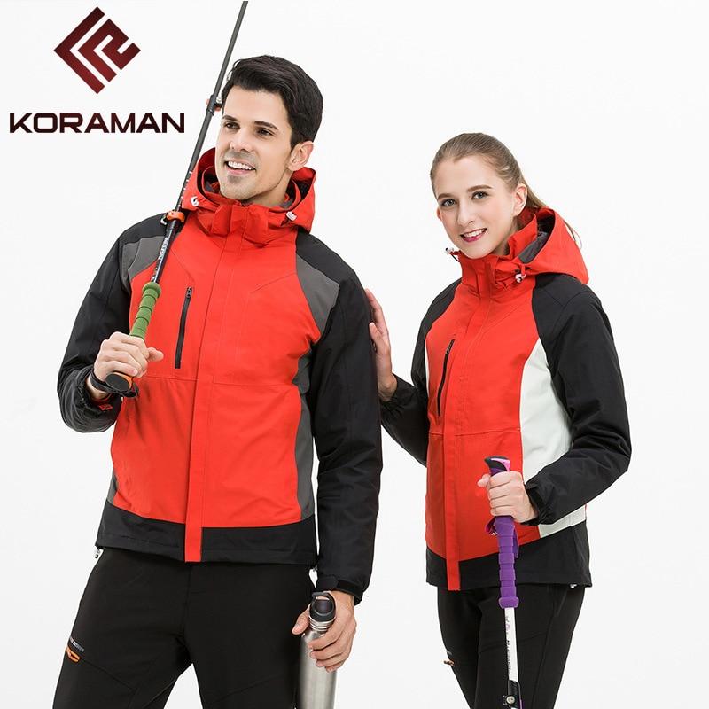 KORAMAN Camping Hiking Jackets For Men Women Detachable Duck Down Waterproof Outdoor Jackets Lovers Hoodied Windproof Jackets