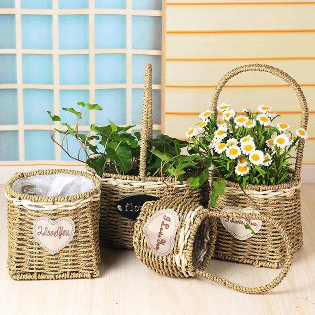 European Past Wicker Basket Birthday Wedding Party Flower Green Plant Pot Christmas Room Decor Mother S