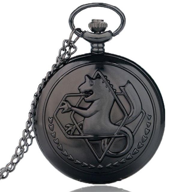 2017 Free Shipping Black Tone Fullmetal Alchemist Pocket Watch Cartoon Quartz Clock Hour Anime Boys Gift Wholesale