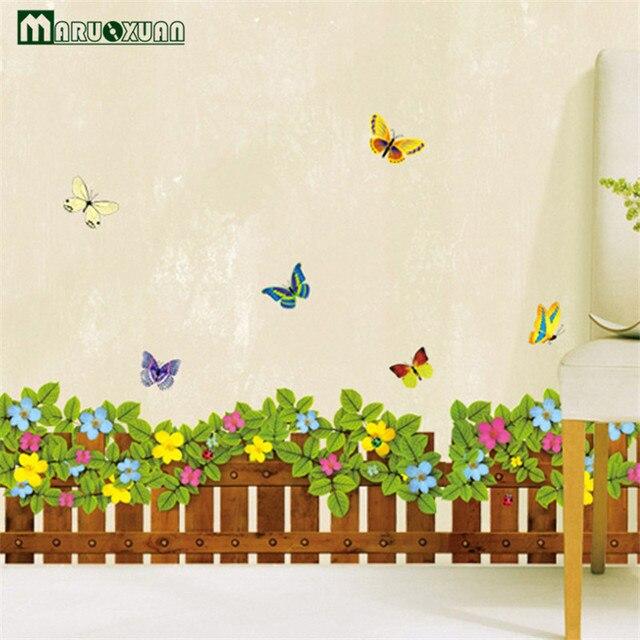 US $4.14 17% di SCONTO Nuovi Adesivi Murali Pvc Estraibile Soggiorno Sfondo  Decorazione Della Parete Farfalla Piccolo Fiore Recinzione in Nuovi ...