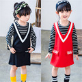 Girls Clothing Sets 2016 Autumn Wool Striped T-shirt + Vest Dress  2 Pcs Suits Black T Shirt Children Clothing Set Free Shipping