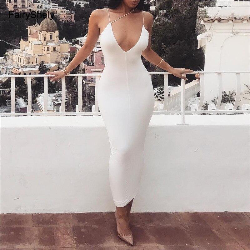 FairyShely 2019 Summer Bodycon Sleeveless Bandage Long Dress Women Sexy White Spaghetti Strap Club Celebrity Evening Party Dress
