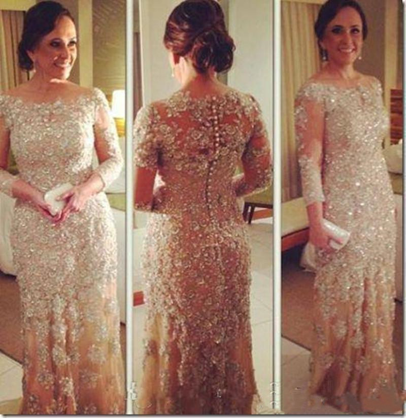 Champagne Long Mother Of The Bride Dresses 2019 Scoop Neck Peals Evening Applique Mother Of The Formal Vestido De Madrinha